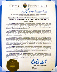 "The Honorable Luke Ravenstahl, Mayor of Pittsburgh, Declares March 2 as ""Hope Academy of Music and the Arts Day"""